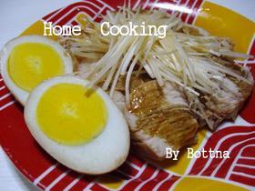 白髪ねぎ付き 簡単煮鶏&味付けたまご
