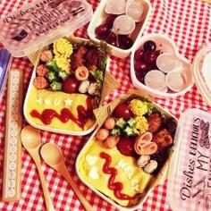サラダにお弁当に☆ハムのダブルハート