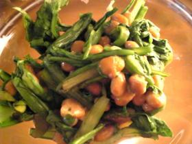 簡単:春菊と納豆のからし和え