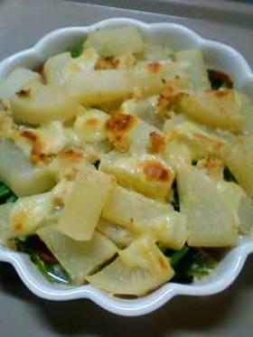 大根と小松菜の牛乳煮グラタン