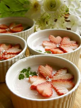 苺が可愛い♡苺ミルクプリン