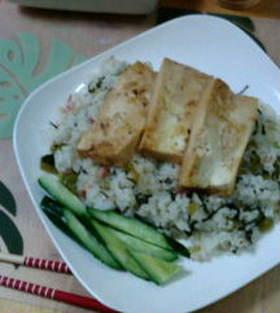 豆腐ステーキon the焼き飯☆