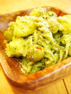 ポテトとショートパスタのジェノバ風サラダ
