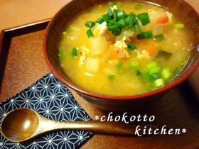 野菜たっぷり♡キムチ味噌汁