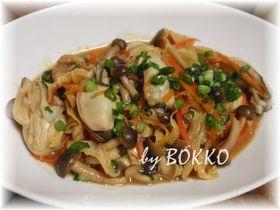 牡蠣とキャベツの味噌煮