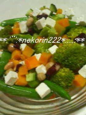 お豆とかぼちゃのクリチーサラダ♪