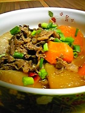 圧力鍋で大根・人参・牛肉の煮物