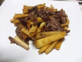 サツマイモと牛肉のオイスター炒め.*゜