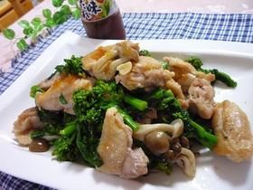 鶏肉と菜の花としめじのガーリック炒め
