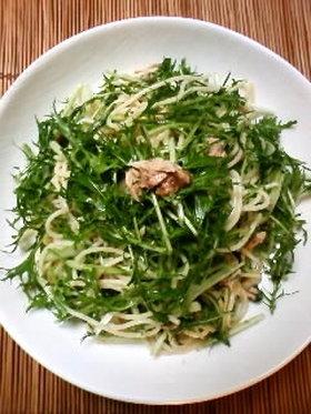 水菜とツナのあっさりパスタ