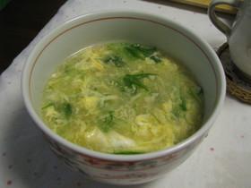 水菜とふわふわ卵の春色スープ