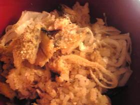 ハタハタの干物と葱の混ぜご飯