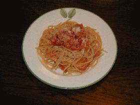 ♪ベーコンとオニオンのトマトスパゲッティ♪