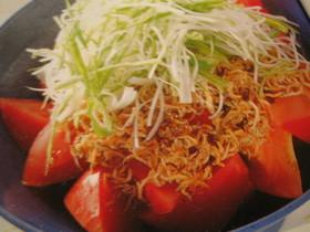 完熟トマトで食べたい♡トマじゃこサラダ♡