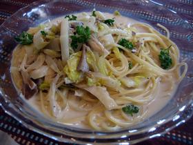 白菜ホタテきのこのクリームスパゲッティ