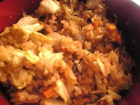 ハタハタの干物と野菜の味噌風味炒飯