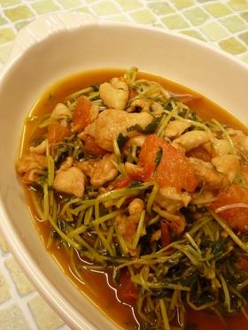 ✿鶏皮と豆苗炒めバルサミコ風味✿