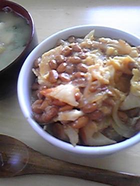 納豆のトロトロ卵とじ丼