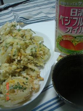 甘い~☆新玉と貝のかき揚げ