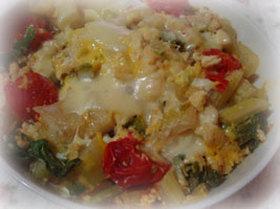 セロリとプチトマトのふわとろ卵とじ