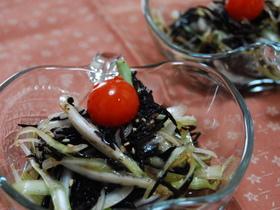 新玉ねぎとひじきの和風サラダ