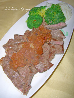 薄切り肉でステーキ風★チャイニーズソース