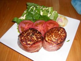 ♡鶏ひき肉のハンバーグベーコン巻き♡