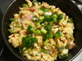 簡単★長ネギ緑(葉?)の部分で炒り卵丼