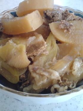 圧力鍋で大根と牛肉の煮物