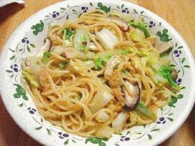 油揚げと白菜の和風スパゲッティ