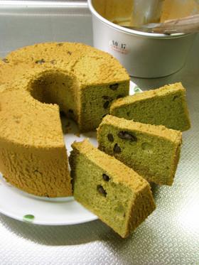 抹茶シフォンケーキ*小豆入り