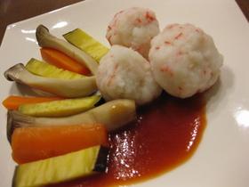 春色団子と野菜の甘酢かけ