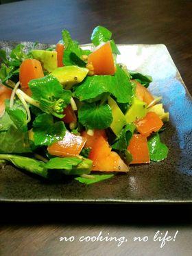 葉わさびとアボトマのサラダ