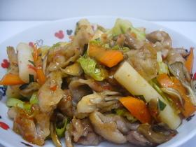 チリソースで野菜炒め
