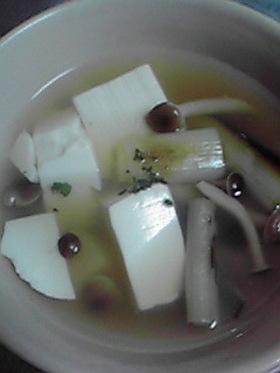 豆腐と焼き葱と焼きのこのスープ