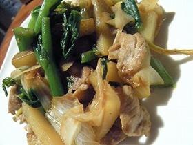 菜の花と豚肉の炒め物