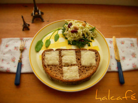 春キャベツとお豆のタルティーヌ