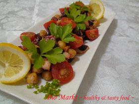 蛸と豆のペペロンチーノ風ブルスケッタ