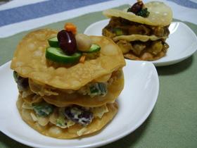 お豆deミルフィーユ仕立☆サラダ&カレー