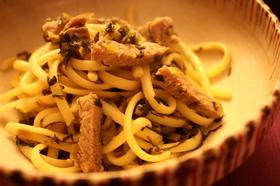 ベーコンと高菜の香ばし和風スパゲッティ