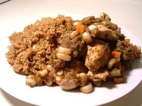 ペルー料理 チキンとグリーンライス
