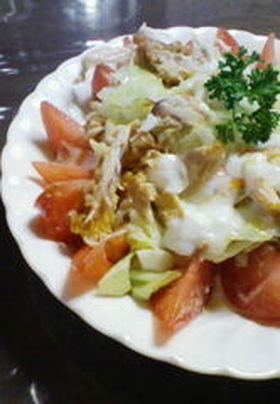 残り物で☆チキンと春キャベツの温卵サラダ