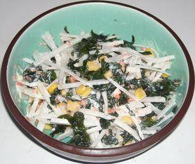 大根&わかめ&コーン&鮭フレークのサラダ