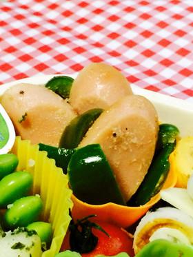 魚肉ソーセージとピーマンのマヨ炒め