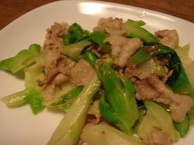 博多蕾菜と豚肉の炒め物