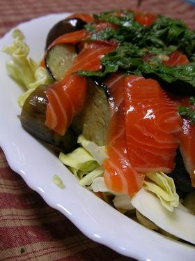 【男の料理】揚げ茄子とサーモンのサラダ