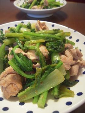 豚肉とカブの葉のオイスター炒め