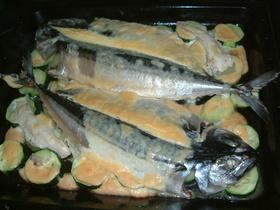 鯖のニンニクソース焼き