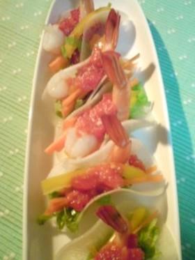 ボイル海老の一口サラダ