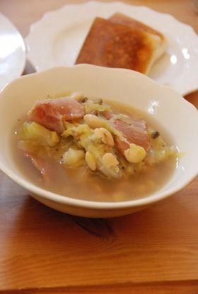 キャベツと豆のスープ煮